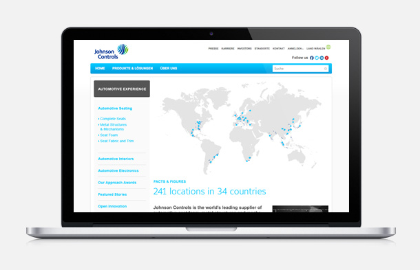 Johnson Controls Website Design von Aclewe Werbagentur
