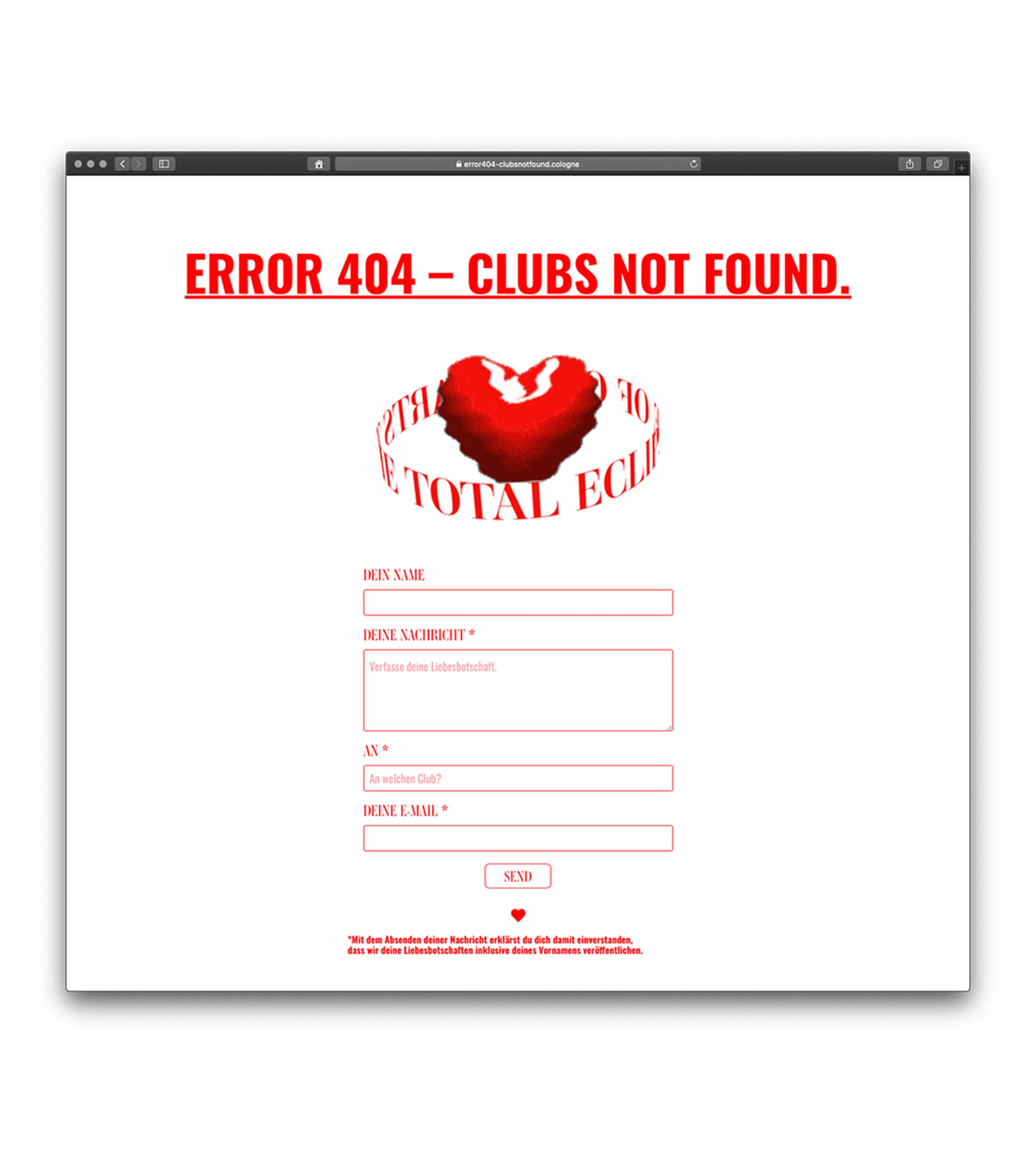 Aclewe clubsnotfound-Webseite